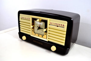 SOLD! - June 12, 2019 - Classic 1952 Dark Brown and Ivory Vintage Sylvania Model 540M AM Tube Clock Radio Near Mint Looks Sounds Heavenly! - [product_type} - Sylvania - Retro Radio Farm