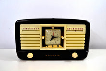 Load image into Gallery viewer, SOLD! - June 12, 2019 - Classic 1952 Dark Brown and Ivory Vintage Sylvania Model 540M AM Tube Clock Radio Near Mint Looks Sounds Heavenly! - [product_type} - Sylvania - Retro Radio Farm