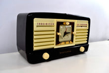 Load image into Gallery viewer, Classic 1952 Dark Brown and Ivory Vintage Sylvania Model 540M AM Tube Clock Radio Near Mint Looks Sounds Heavenly! - [product_type} - Sylvania - Retro Radio Farm