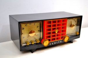 Widow Black and Red Mid Century 1955 Zenith Model R623G AM Tube Radio Sleek and Sounds Great! - [product_type} - Zenith - Retro Radio Farm