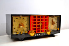 Load image into Gallery viewer, Widow Black and Red Mid Century 1955 Zenith Model R623G AM Tube Radio Sleek and Sounds Great! - [product_type} - Zenith - Retro Radio Farm
