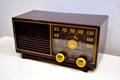 Burgundy  Bordeaux 1953 Philco Model 53-562 Transitone AM Radio with Civil Service and Sounds Great! - [product_type} - Philco - Retro Radio Farm