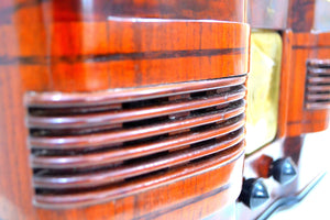 Highly Figured Burl Wood 1940 Emerson Model 376 Vacuum Tube AM Radio Refinished and Restored Top To Bottom! - [product_type} - Emerson - Retro Radio Farm