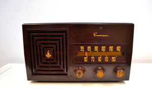 Cubist Brown Bakelite 1953 Emerson Model 641 AM Vacuum Tube Radio Sounds Amazing! - [product_type} - Emerson - Retro Radio Farm