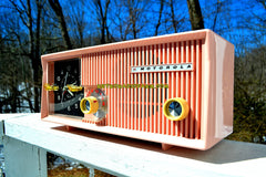 SOLD! - April 3, 2018 - CAPRI PINK Mid Century Retro Vintage Antique Motorola 1957 Model 5C13P Clock Radio Tube AM Clock Radio Wow!