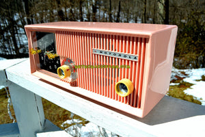 SOLD! - April 3, 2018 - CAPRI PINK Mid Century Retro Vintage Antique Motorola 1957 Model 5C13P Clock Radio Tube AM Clock Radio Wow! - [product_type} - Motorola - Retro Radio Farm