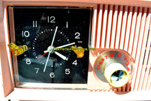 Load image into Gallery viewer, SOLD! - April 3, 2018 - CAPRI PINK Mid Century Retro Vintage Antique Motorola 1957 Model 5C13P Clock Radio Tube AM Clock Radio Wow! - [product_type} - Motorola - Retro Radio Farm