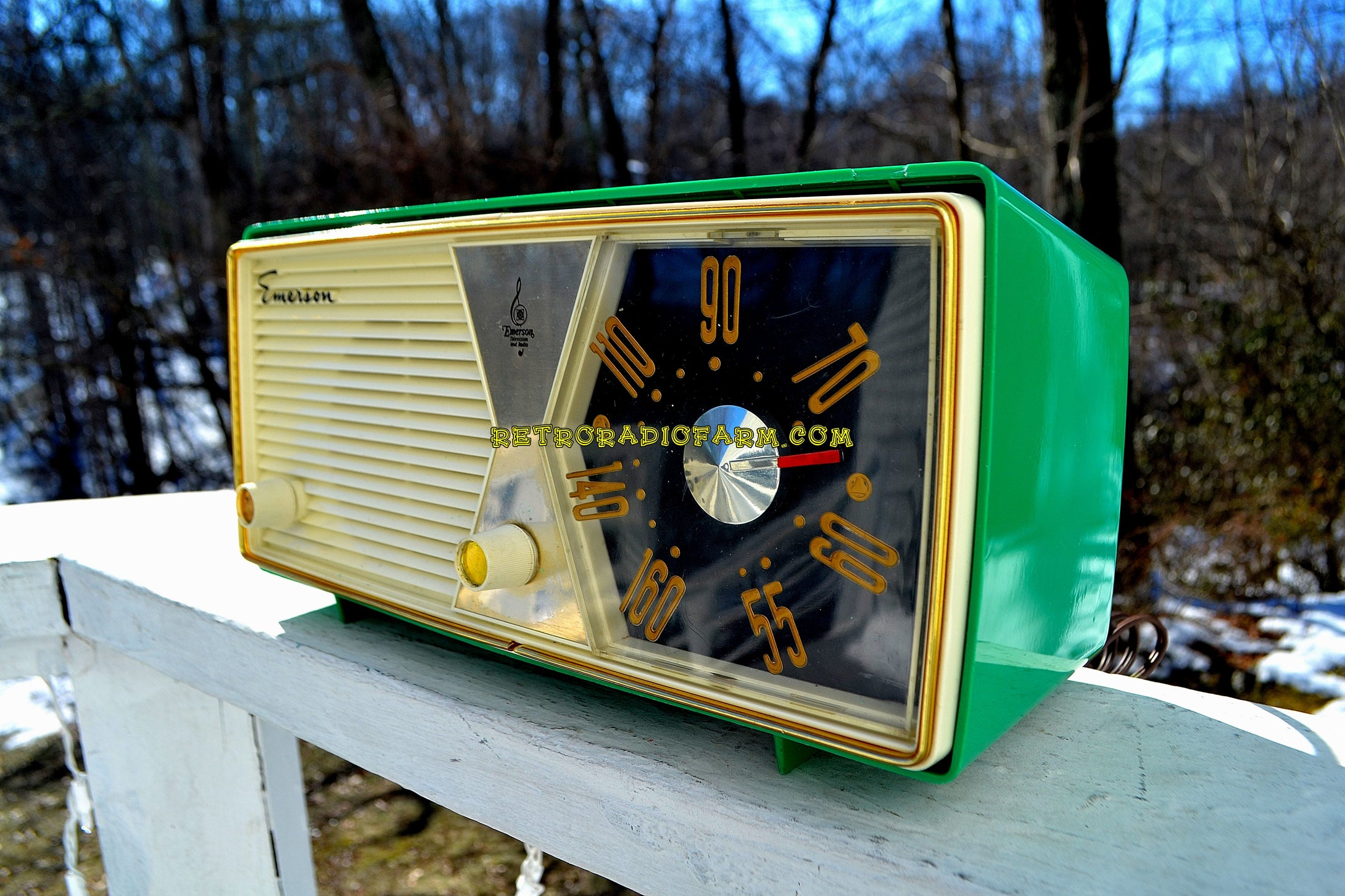 SOLD! - June 23, 2018 - SHAMROCK GREEN 1956 Emerson Model 876B Tube AM Radio Mid Century Rare Color Sounds Great! - [product_type} - Emerson - Retro Radio Farm