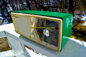 SOLD! - June 23, 2018 - SHAMROCK GREEN 1956 Emerson Model 876B Tube AM Radio Mid Century Rare Color Sounds Great!