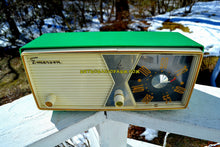 Load image into Gallery viewer, SOLD! - June 23, 2018 - SHAMROCK GREEN 1956 Emerson Model 876B Tube AM Radio Mid Century Rare Color Sounds Great!