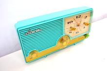 Load image into Gallery viewer, SOLD! - Aug 15, 2019 - AQUAMARINE Turquoise Mid Century Retro Vintage 1959 Arvin Model 5583 AM Tube Clock Radio Rare! Stunning! - [product_type} - Arvin - Retro Radio Farm