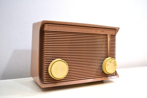Sandy Beige Tan 1959 Motorola Model A7N-62 Vacuum Tube AM Radio Sounds Wonderful! - [product_type} - Motorola - Retro Radio Farm