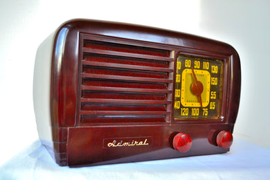 Big Brown Beautiful Bakelite 1947 Admiral Model 7T10 Vintage Vacuum Tube AM Radio Sweet! - [product_type} - Admiral - Retro Radio Farm