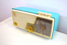 Load image into Gallery viewer, Sky Blue and White 1956 Emerson Model 883 Series B Tube AM Clock Radio Mid Century Rare Color Sounds Great! - [product_type} - Emerson - Retro Radio Farm