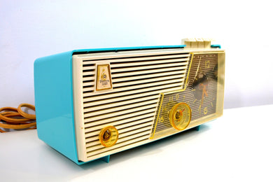 Sky Blue and White 1956 Emerson Model 883 Series B Tube AM Clock Radio Mid Century Rare Color Sounds Great!
