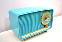 Load image into Gallery viewer, Egyptian Turquoise and Gold 1957 Bulova Deluxe Lyric Model 320 AM Clock Radio Simply Fabulous! - [product_type} - Bulova - Retro Radio Farm
