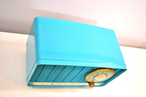 Egyptian Turquoise and Gold 1957 Bulova Deluxe Lyric Model 320 AM Clock Radio Simply Fabulous! - [product_type} - Bulova - Retro Radio Farm