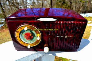 SOLD! - June 23, 2018 - AMAZON ECHO DOT™ INCLUDED - Brown Marbled Golden Age Art Deco 1952 General Electric Model 515F AM Tube Clock Radio Totally Restored! - [product_type} - General Electric - Retro Radio Farm