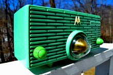 Load image into Gallery viewer, SOLD! - Sept 16, 2018 - Seafoam Green Mid Century Retro Jetsons 1957 Motorola 56H Turbine Tube AM Radio Works Amazing!