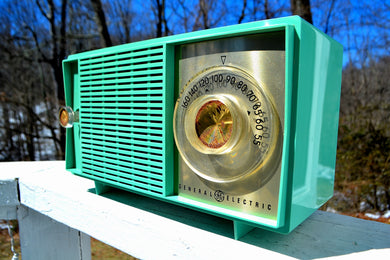 Amazon Echo Dot™ Included - TURQUOISE Mid Century Vintage 1959 General Electric Model T-129C Tube Radio - [product_type} - General Electric - Retro Radio Farm
