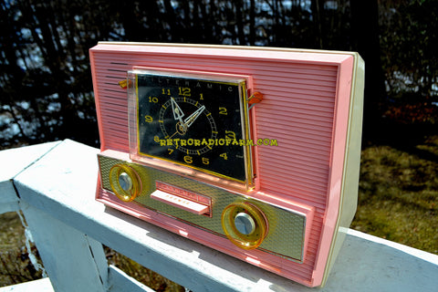 SOLD! - Mar 28, 2018 - BLUETOOTH MP3 UPGRADE ADDED - POWDER PINK Retro Jetsons Vintage 1957 RCA Victor Model 1-RD-63 AM Tube Clock Radio Has Issues But Pretty!