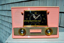 Load image into Gallery viewer, SOLD! - Mar 28, 2018 - BLUETOOTH MP3 UPGRADE ADDED - POWDER PINK Retro Jetsons Vintage 1957 RCA Victor Model 1-RD-63 AM Tube Clock Radio Has Issues But Pretty! - [product_type} - RCA Victor - Retro Radio Farm
