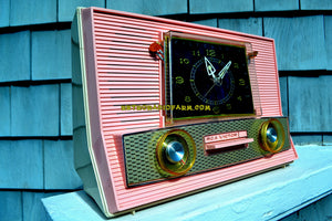SOLD! - Mar 28, 2018 - BLUETOOTH MP3 UPGRADE ADDED - POWDER PINK Retro Jetsons Vintage 1957 RCA Victor Model 1-RD-63 AM Tube Clock Radio Has Issues But Pretty! - [product_type} - RCA Victor - Retro Radio Farm