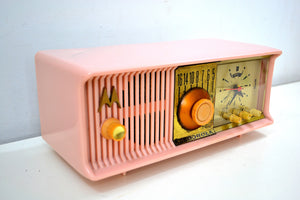 Marilyn Pink Mid Century 1956 Motorola 57CC2 Tube AM Clock Radio She's A Doll! - [product_type} - Motorola - Retro Radio Farm