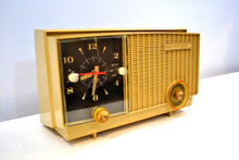 Load image into Gallery viewer, Maize Goldenrod Vintage 1957 RCA Victor RCA 3RD-35 Tube AM Clock Radio Cutie Pie! - [product_type} - RCA Victor - Retro Radio Farm