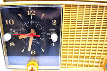 Load image into Gallery viewer, Maize Goldenrod Vintage 1957 RCA Victor 3RD-35 Tube AM Clock Radio Cutie Pie! - [product_type} - RCA Victor - Retro Radio Farm
