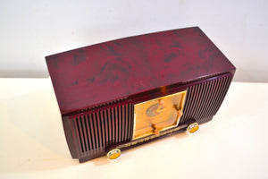 Elegant Brown Marbled 1955 General Electric Model 551 Vintage AM Clock Radio Popular Model! Sounds Great! - [product_type} - General Electric - Retro Radio Farm