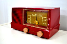 Load image into Gallery viewer, BLUETOOTH MP3 UPGRADED - Burgundy Mid Century Modern Vintage 1953 General Electric Model 416 AM Tube Radio - [product_type} - General Electric - Retro Radio Farm