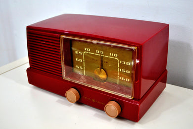 SOLD! - Dec 15, 2019 - BLUETOOTH MP3 UPGRADED - Burgundy Mid Century Modern Vintage 1953 General Electric Model 416 AM Tube Radio - [product_type} - General Electric - Retro Radio Farm
