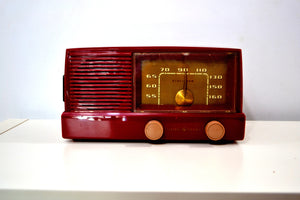 Bluetooth Ready - Burgundy Mid Century Modern Vintage 1953 General Electric Model 416 AM Tube Radio - [product_type} - General Electric - Retro Radio Farm