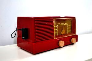 BLUETOOTH MP3 UPGRADED - Burgundy Mid Century Modern Vintage 1953 General Electric Model 416 AM Tube Radio - [product_type} - General Electric - Retro Radio Farm