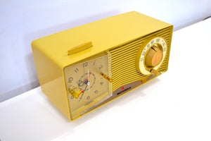 SOLD! - Apr 3, 2019 - Goldenrod Beige Yellow 1963 Motorola Model C3CS Tube AM Clock Radio Near Mint! - [product_type} - Motorola - Retro Radio Farm