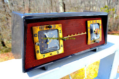 MACHIATTO Brown Clay Red Mesh 1954 Sparton Model 375C AM Tube Radio Real Looker!