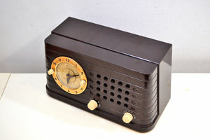 Merrimack Brown Bakelite Art Deco Post War 1949 Telechron Model 8H59 Tube AM Clock Radio First Clock Radio! - [product_type} - Telechron - Retro Radio Farm