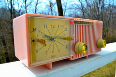 CHERRY BLOSSOM PINK Mid Century Retro Vintage Antique Motorola 1959 Model 57CF Clock Radio Tube AM Clock Radio Looks Sounds Great!
