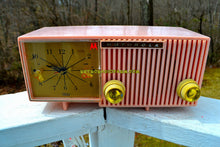 Load image into Gallery viewer, SOLD! - Apr 25, 2019 - Cherry Blossom Pink Motorola 1959 Model 57CF Clock Radio Tube AM Clock Radio - [product_type} - Motorola - Retro Radio Farm