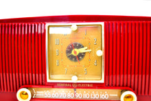 Load image into Gallery viewer, SOLD! - Apr 26, 2019 - Ruby Red 1953 General Electric Model 548PH AM Clock Radio Popular Model Sounds Fantastic! - [product_type} - General Electric - Retro Radio Farm