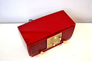 SOLD! - Apr 26, 2019 - Ruby Red 1953 General Electric Model 548PH AM Clock Radio Popular Model Sounds Fantastic! - [product_type} - General Electric - Retro Radio Farm