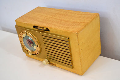 Tiger Stripe Maple 1950 General Electric Model 508 AM Clock Radio Classic! - [product_type} - General Electric - Retro Radio Farm