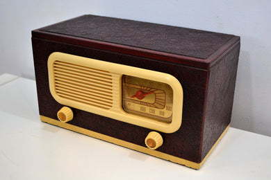 Oxblood Leather Grained Covered Vintage 1947 Philco Transitone 47-204 Vacuum Tube AM Radio Sounds Looks Spectacular!