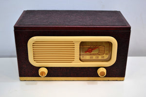Oxblood Leather Grained Covered Vintage 1947 Philco Transitone 47-204 Vacuum Tube AM Radio Sounds Looks Spectacular! - [product_type} - Philco - Retro Radio Farm