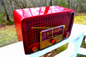 SOLD! - Apr 14, 2018 - BLUETOOTH MP3 UPGRADE ADDED - CRANBERRY RED Mid Century Retro Vintage 1955 RCA Victor Model 5X-564 AM Tube Radio Great Sounding! - [product_type} - RCA Victor - Retro Radio Farm