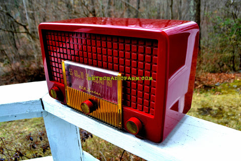 SOLD! - Apr 14, 2018 - CRANBERRY RED Mid Century Retro Vintage 1955 RCA Victor Model 5X-564 AM Tube Radio Great Sounding!