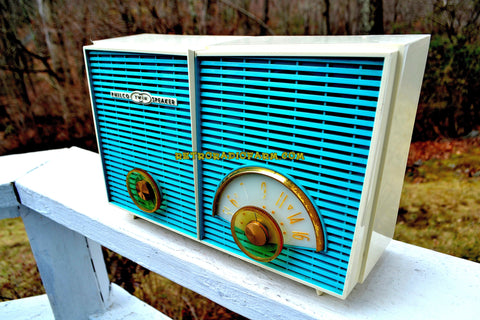RETRO WONDER Turquoise And White 1958 Philco H836-124 AM Tube Radio Mint Condition And Rare!