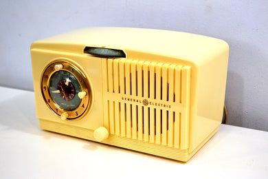 Ivory White Vintage 1948-49 General Electric Model 516F AM Vacuum Tube Radio Solid Player Popular Model!