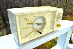 SOLD! - July 21, 2018 - SNOW WHITE Mid Century Retro 1959 Westinghouse Model H816L5 Tube AM Clock Radio Totally Restored!